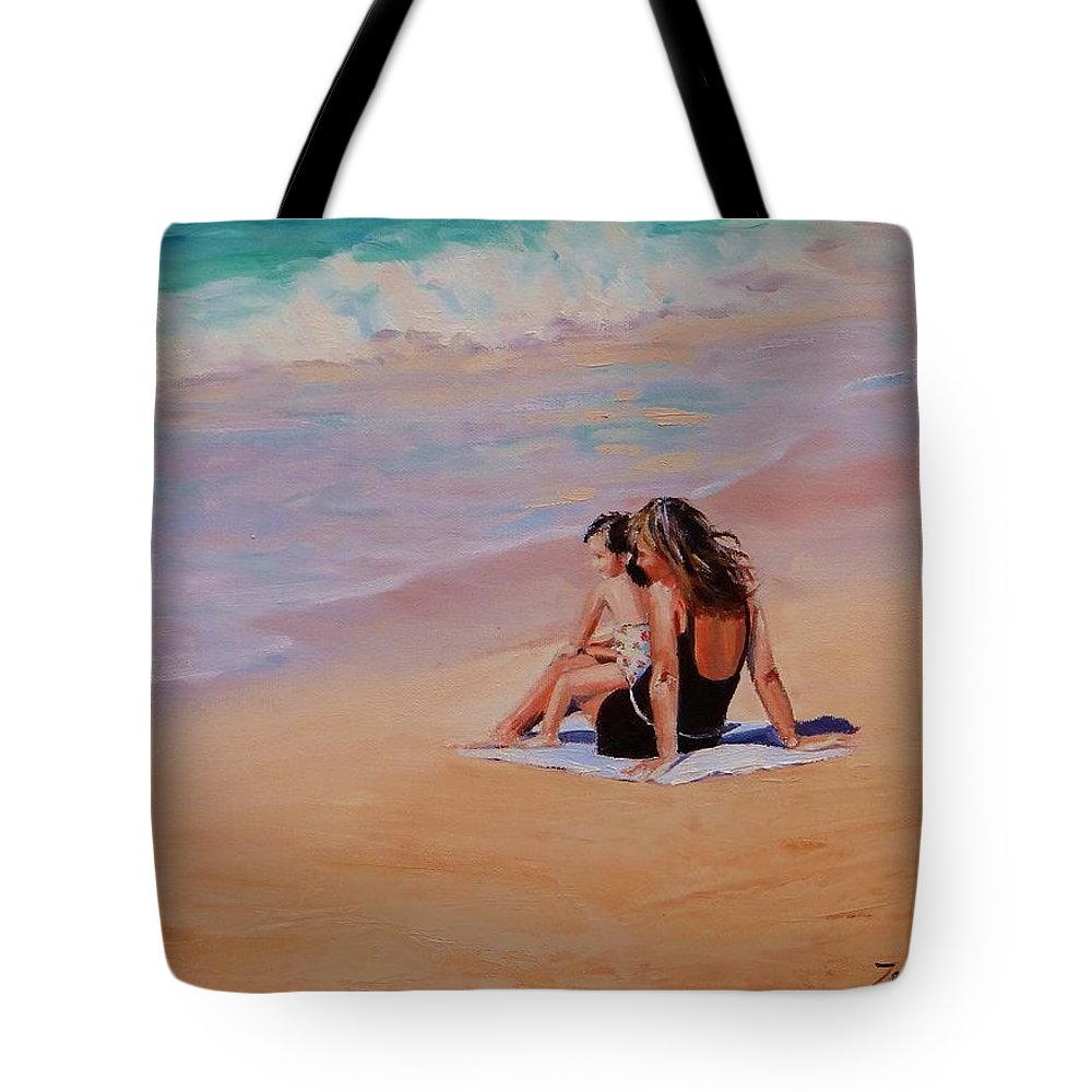 Seascape Tote Bag featuring the painting Mother And Child by Laura Lee Zanghetti