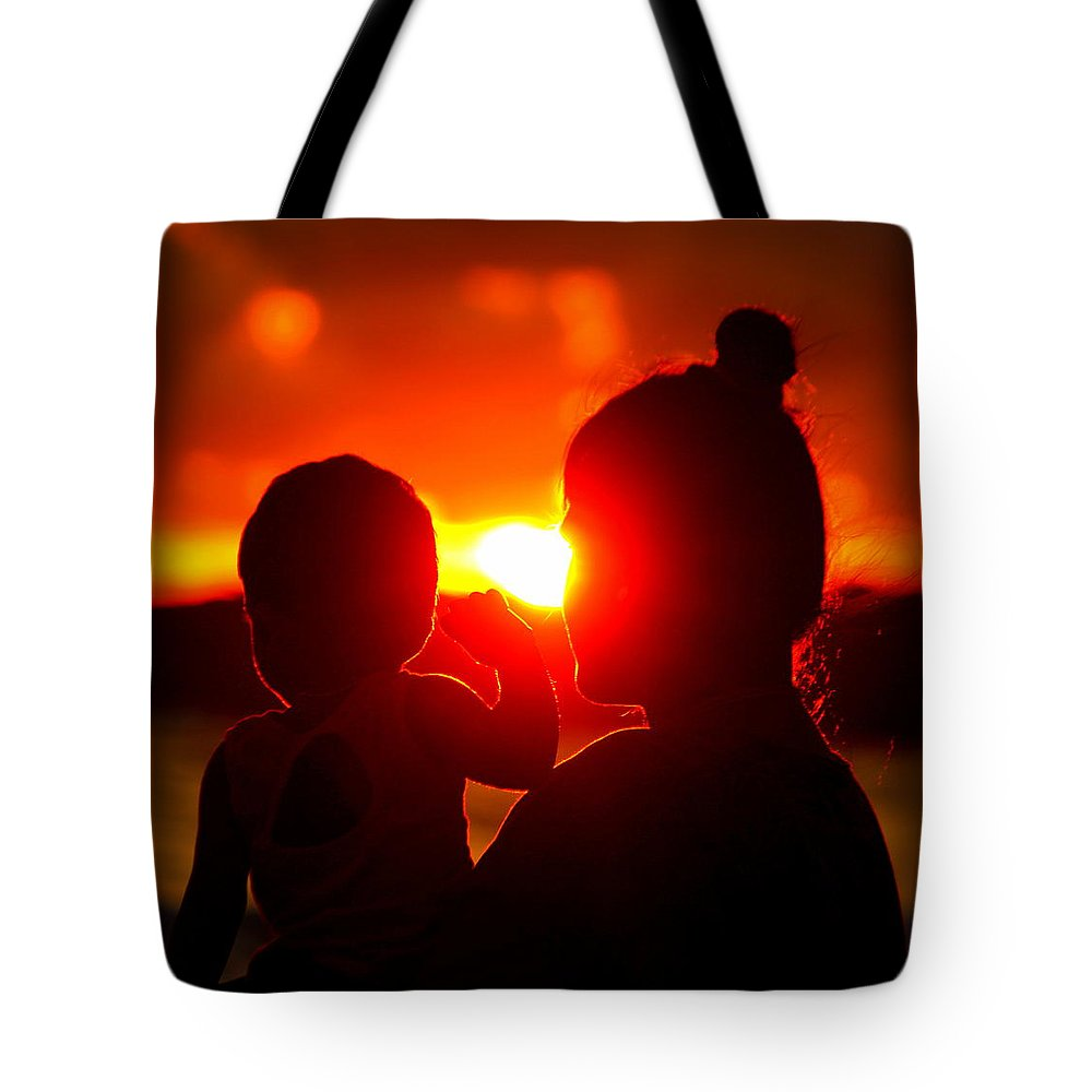Tote Bag featuring the photograph Mother And Child On Sunset by Nikky Nish