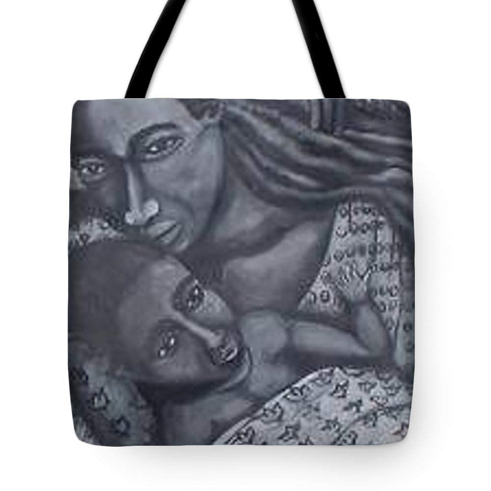 Mother Taking Care Of Child Tote Bag featuring the painting Mother And Son by Andrew Johnson