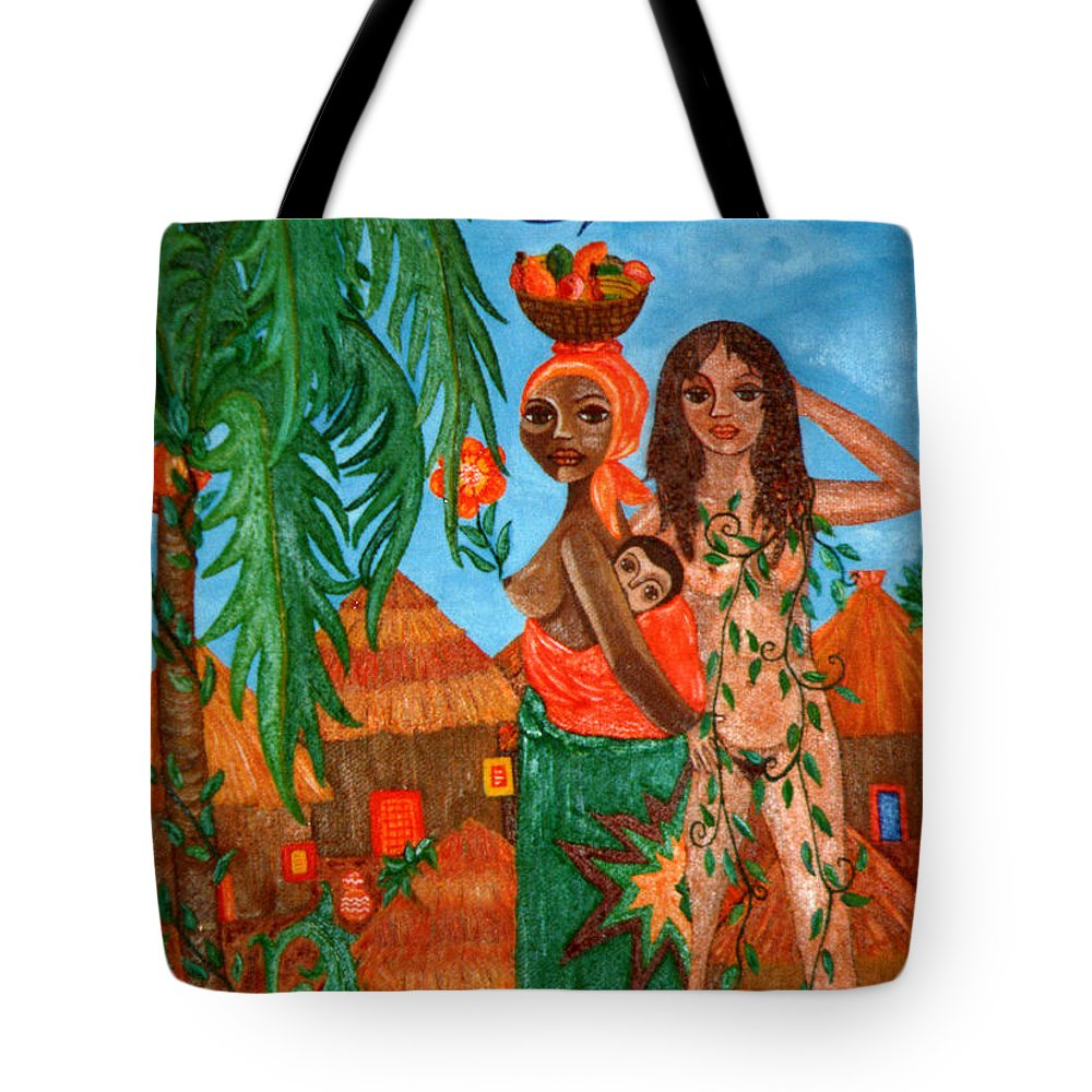 Mother Tote Bag featuring the painting Mother Black Mother White by Madalena Lobao-Tello