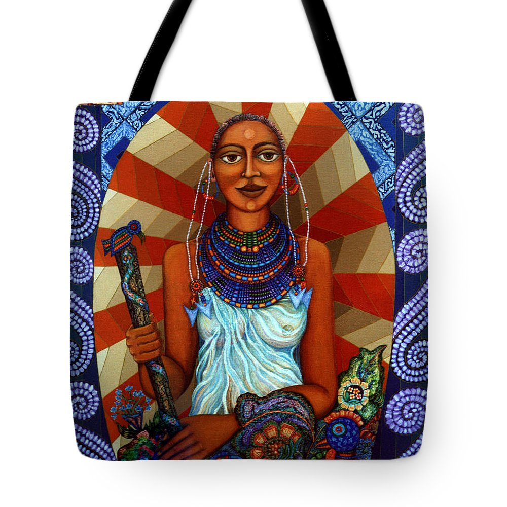 Mother Earth Tote Bag featuring the painting Mother Earth by Madalena Lobao-Tello