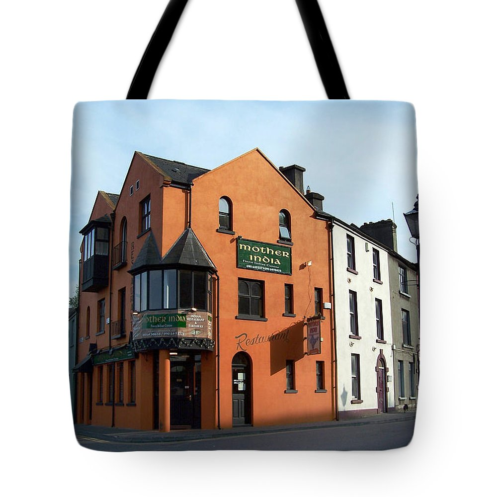 Ireland Tote Bag featuring the photograph Mother India Restaurant Athlone Ireland by Teresa Mucha