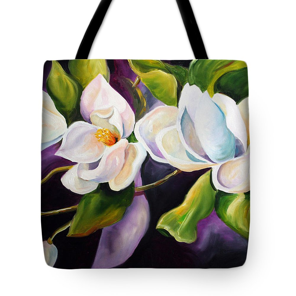 Magnolia Flower Tote Bag featuring the painting Mother by Laurie Pace