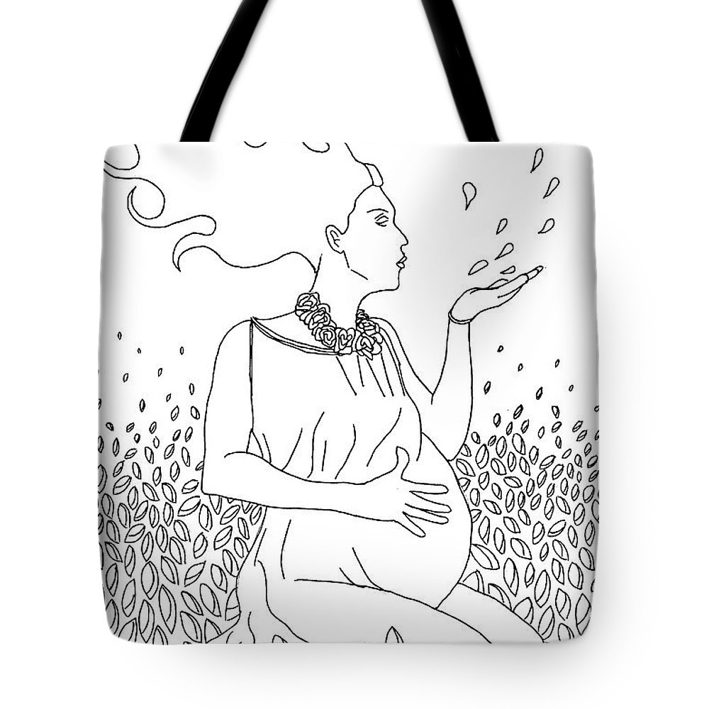 Line Drawing Tote Bag featuring the drawing Mother Nature by Kate Evans