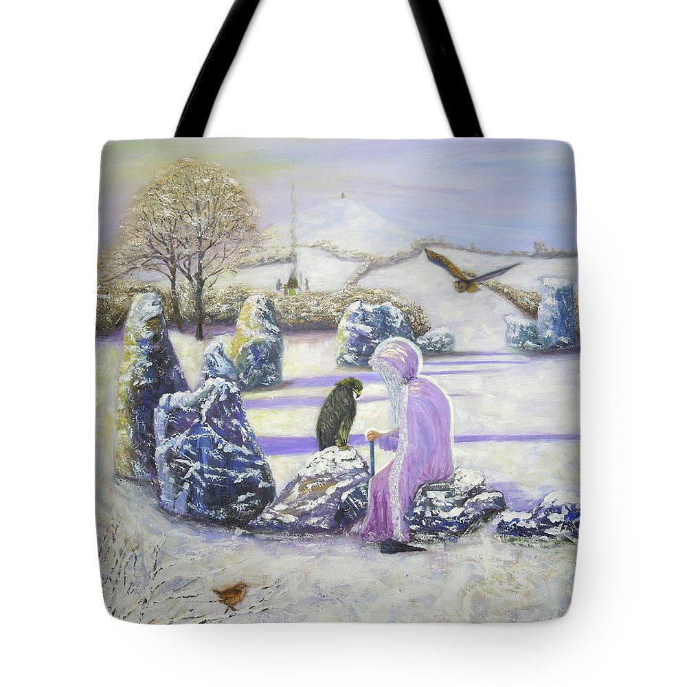 Fine Art Tote Bag featuring the painting Mother Of Air Goddess Danu - Winter Solstice by Shirley Wellstead