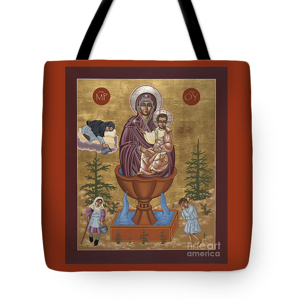 Mother Of God Life Giving Spring Tote Bag featuring the painting Mother Of God Life Giving Spring With Mother Macaria Of Russia And Blessed Margaret Of Castello 179 by William Hart McNichols