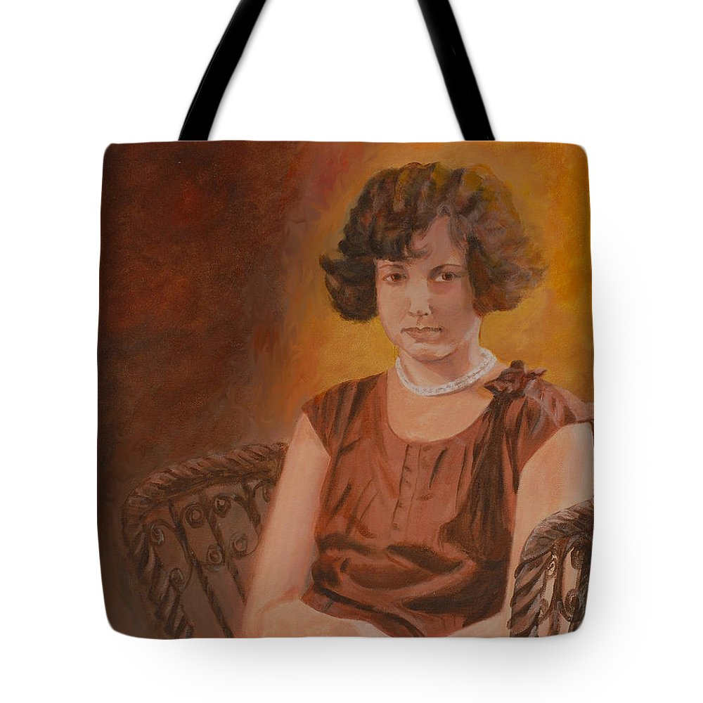 Woman Tote Bag featuring the painting Mother by Quwatha Valentine