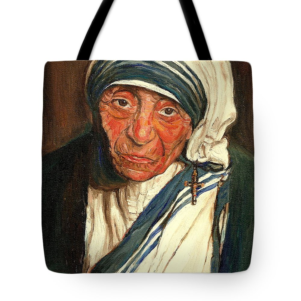 Mother Teresa Tote Bag featuring the painting Mother Teresa by Carole Spandau