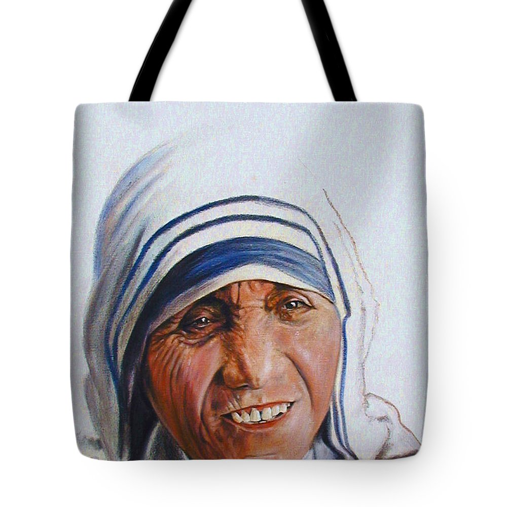 Mother Teresa Tote Bag featuring the painting Mother Teresa by John Lautermilch