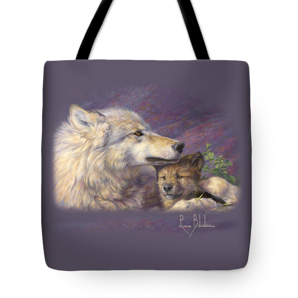 Wolf Tote Bag featuring the painting Mother's Love by Lucie Bilodeau