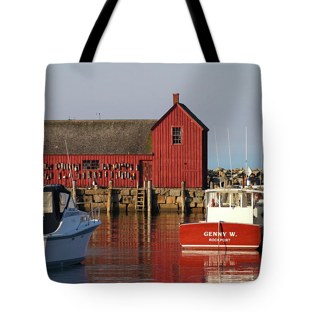Motif Number One Tote Bag featuring the photograph Motif No. 1 Reflections Rockport Massachusetts by Michelle Wiarda-Constantine