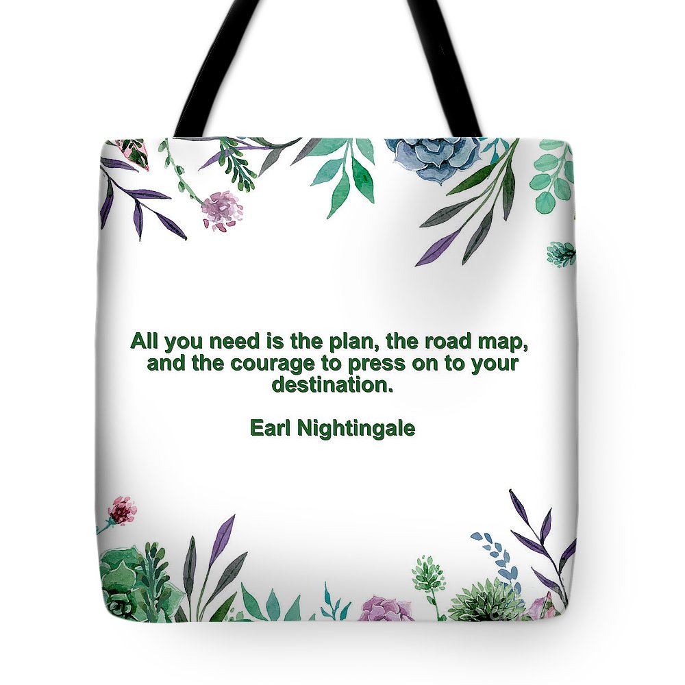 Adam Asar Tote Bag featuring the painting Motivational Quotes - All You Need Is The Plan by Celestial Images