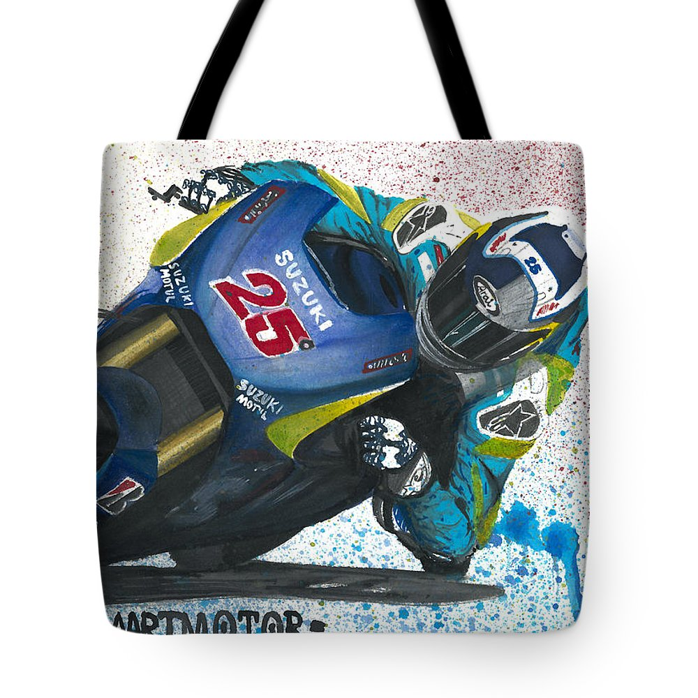 Watercolours Motogp Artist Suzuki Motorbike Motorcycle Motoart Fanart Elbowdown Racing Racingcolours Velocity Mixed Media Tote Bag featuring the painting Motogp - Maverick Full Gas by Adrian Lopez Lozano