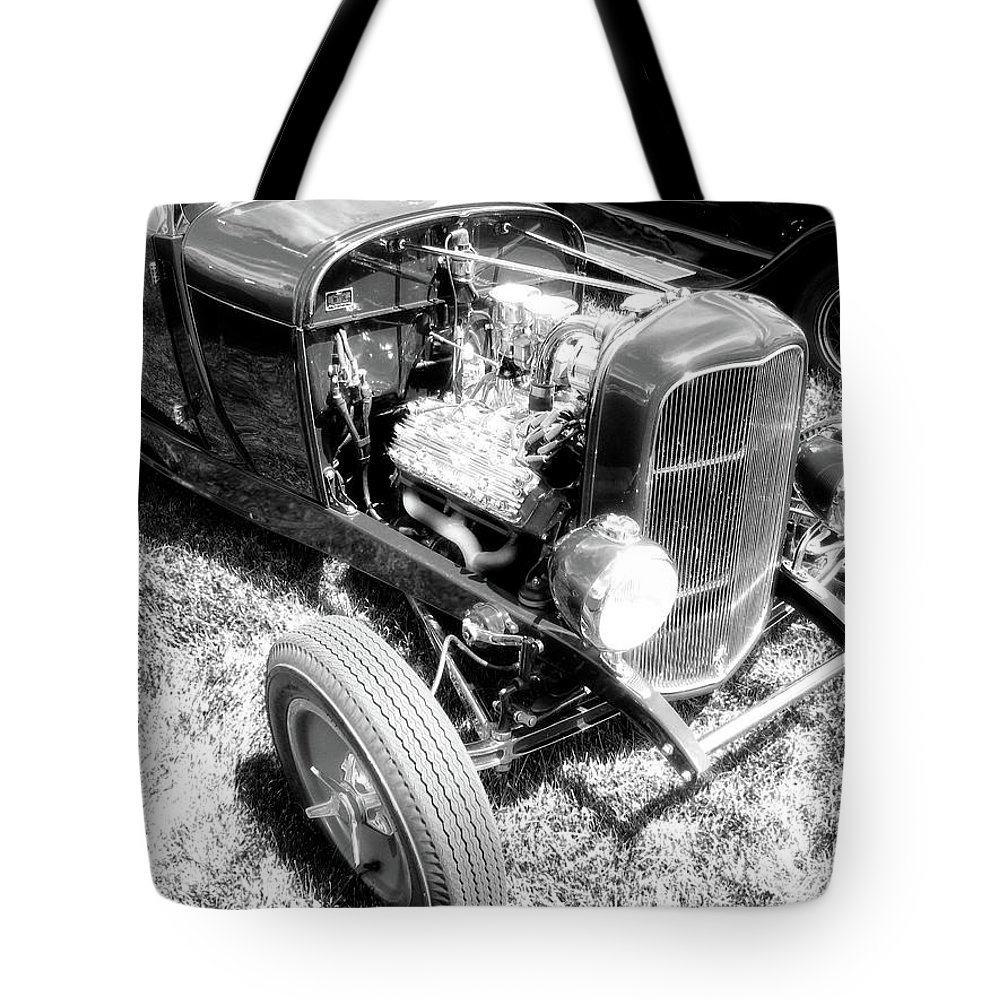 Photograph Tote Bag featuring the photograph Motor Wheel Bw by David King