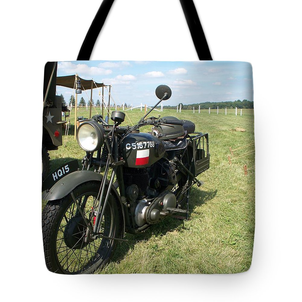 Automotive Tote Bag featuring the painting Motorcycle by Eric Schiabor
