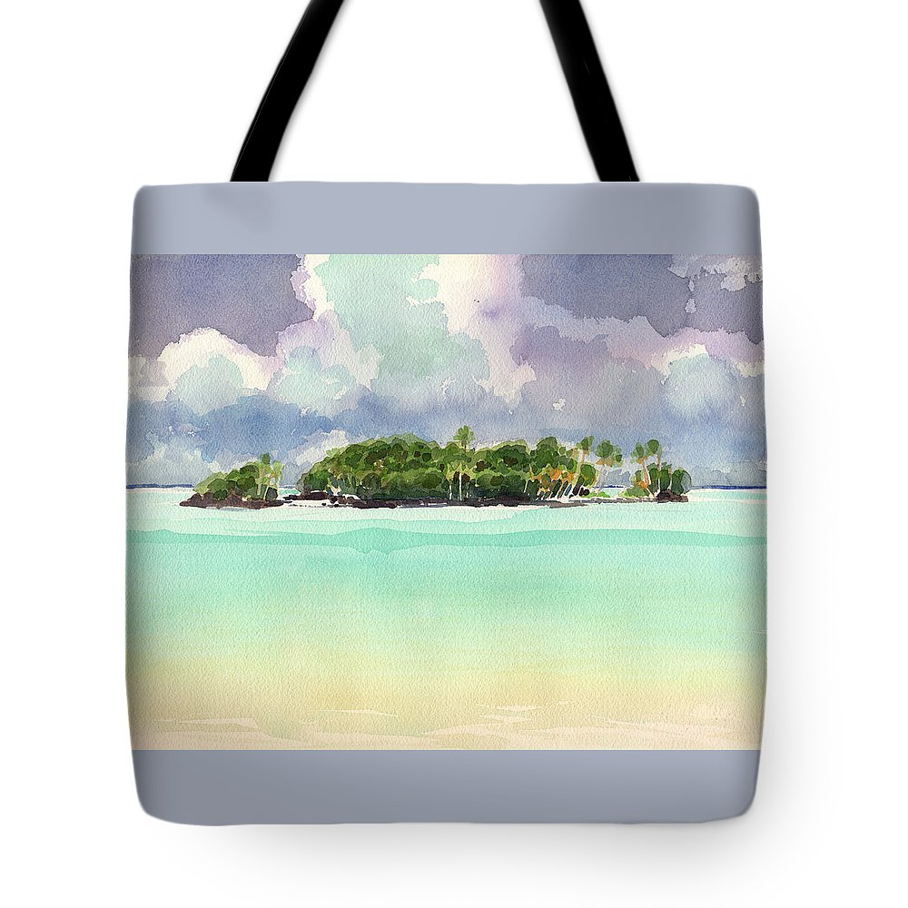 Landscape Tote Bag featuring the painting Motu Rapota, Aitutaki, Cook Islands, South Pacific by Judith Kunzle
