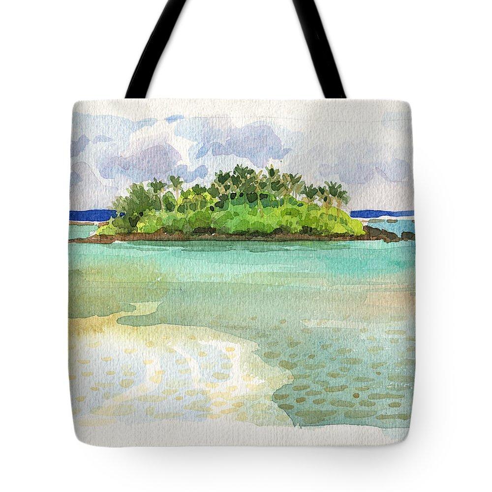 Landscape Tote Bag featuring the painting Motu Taakoka by Judith Kunzle