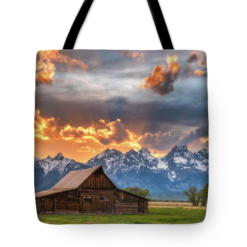 Moulton Barn Tote Bag featuring the photograph Moulton Barn Sunset Fire by Darren White