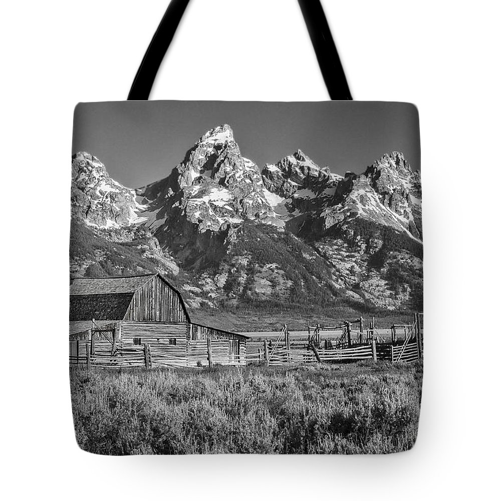 Grand Teton Tote Bag featuring the photograph Moulton Cabin - Grand Tetons II by Sandra Bronstein