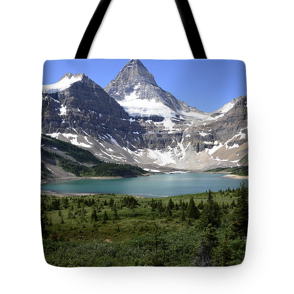 Mount Assiniboine Tote Bag featuring the photograph Mount Assiniboine Canada 16 by Bob Christopher