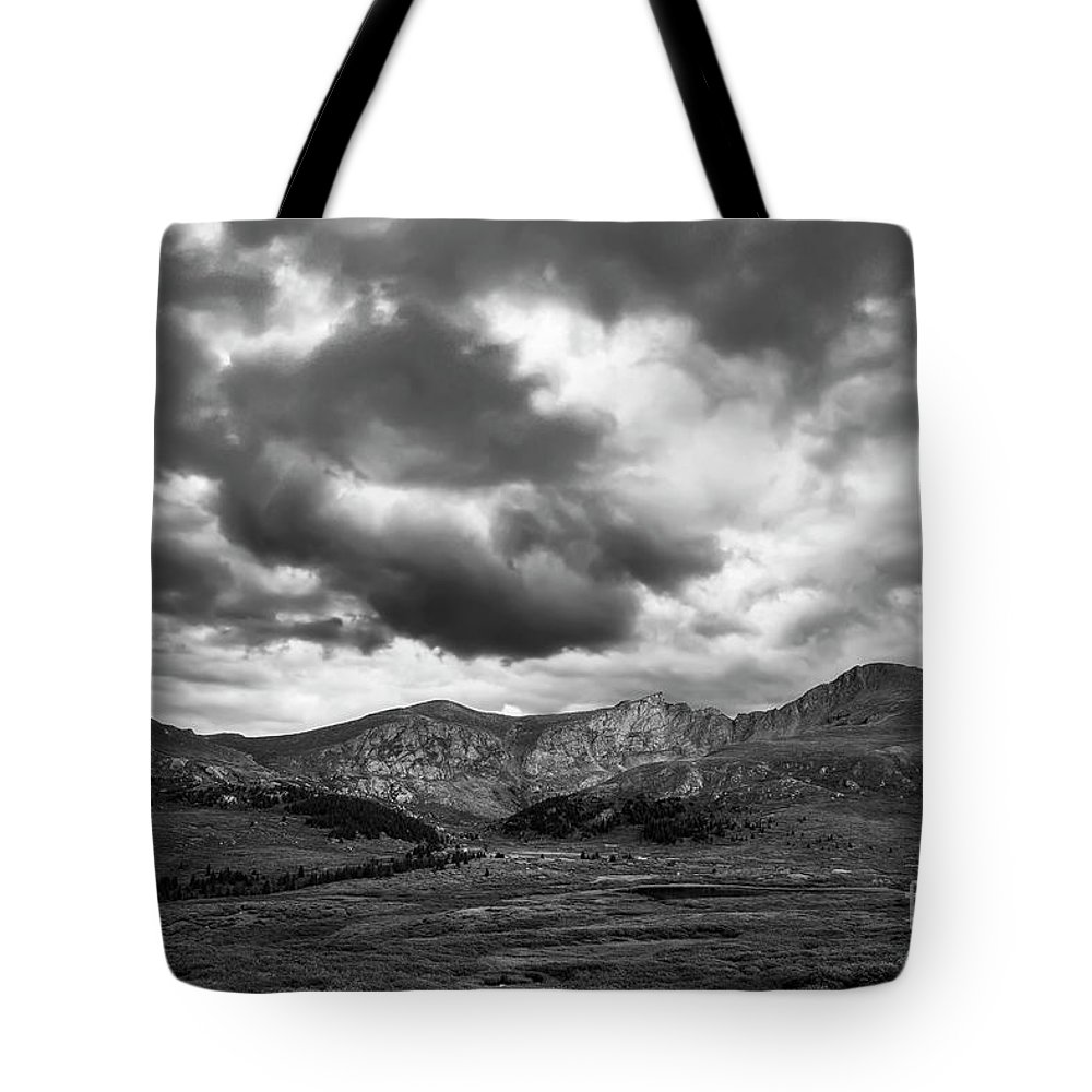 Mt. Bierstadt Tote Bag featuring the photograph Mount Bierstadt Black And White by Twenty Two West Photography