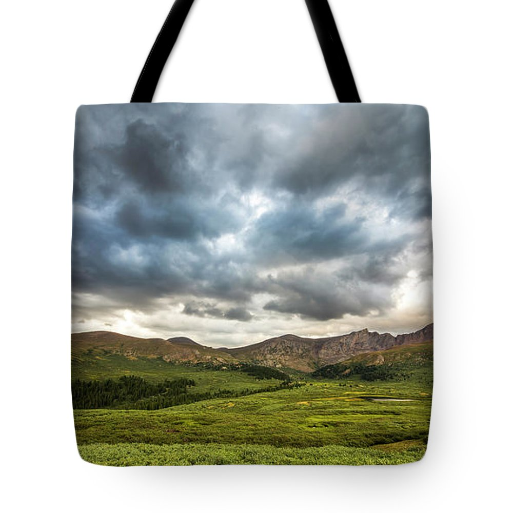Mt. Bierstadt Tote Bag featuring the photograph Mount Bierstadt Cloudy Evening 2x1 by Twenty Two West Photography