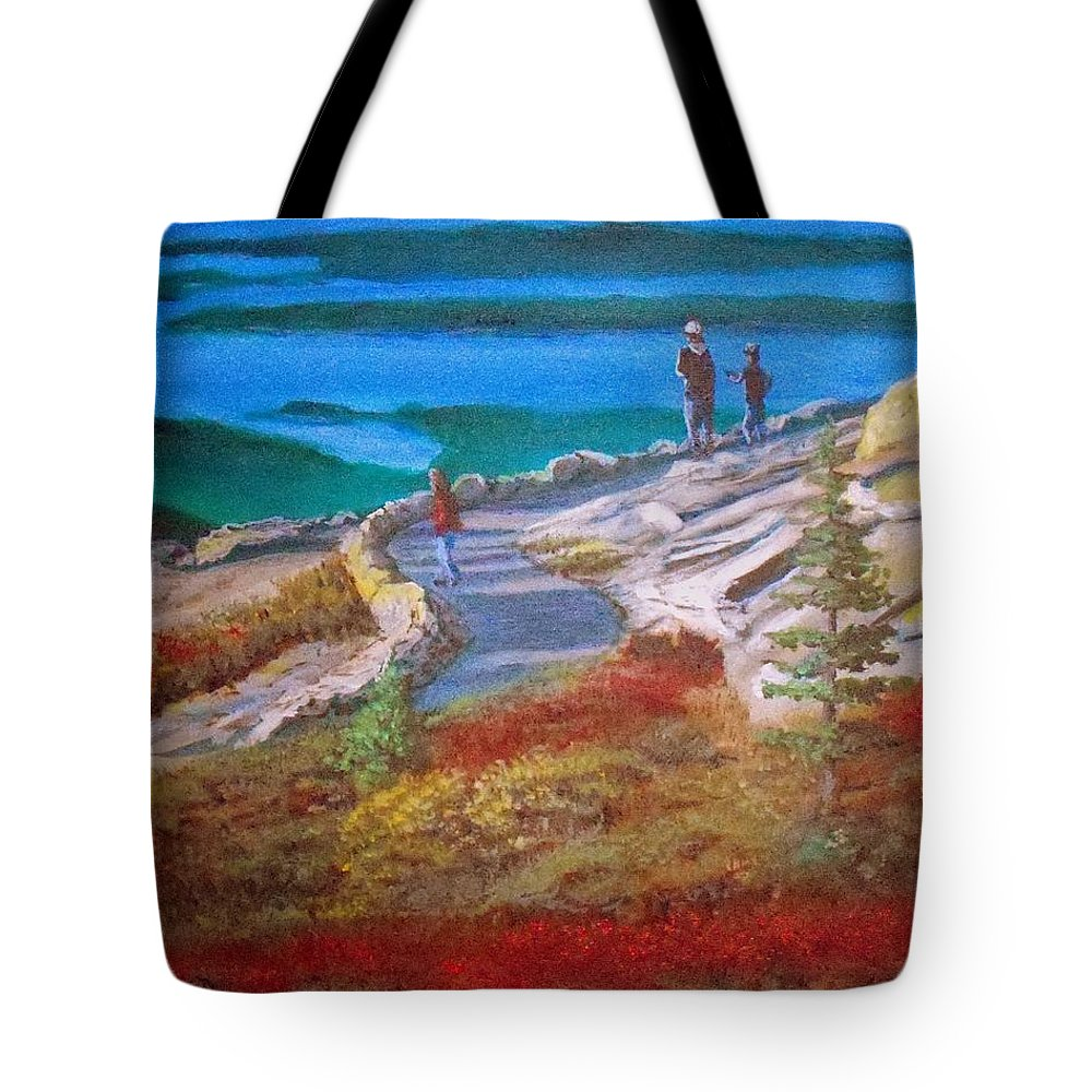 Acadia National Park Tote Bag featuring the painting Mount Cadilac Path by William Tremble