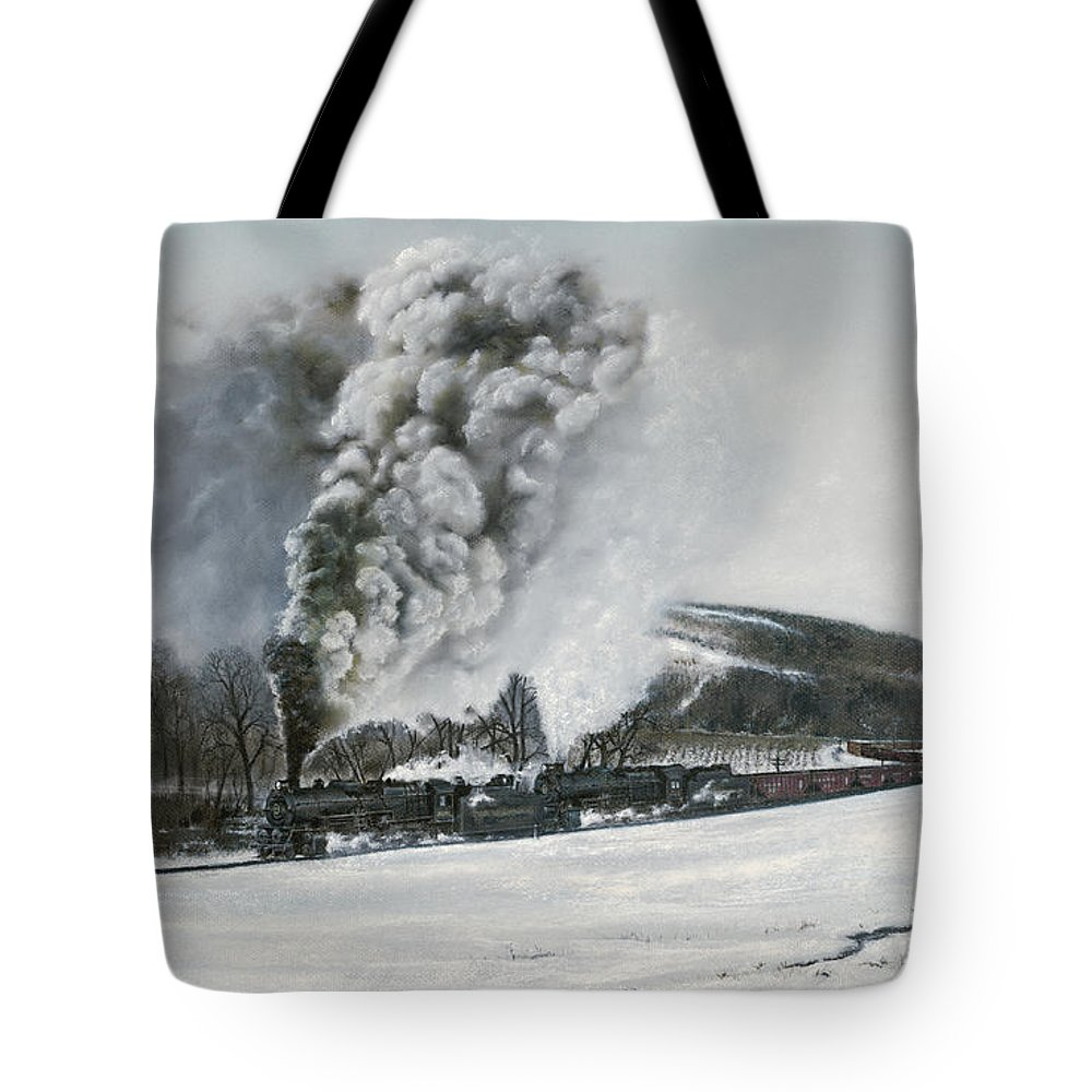 Trains Tote Bag featuring the painting Mount Carmel Eruption by David Mittner
