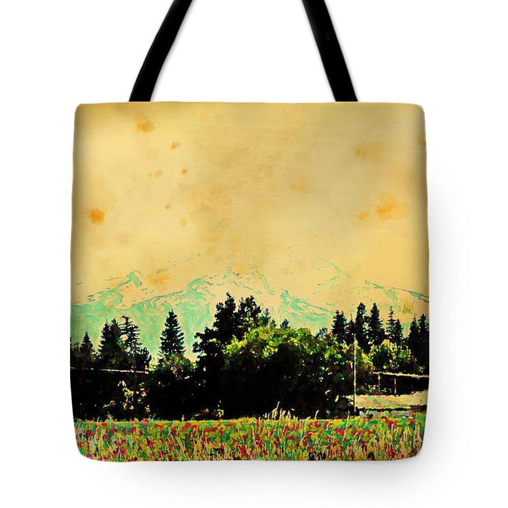 Mount Hood Tote Bag featuring the digital art Mount Hood by Lora Battle