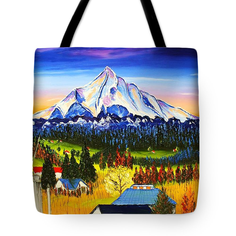 Tote Bag featuring the painting Mount Hood River Valley #1. by Dunbar's Modern Art
