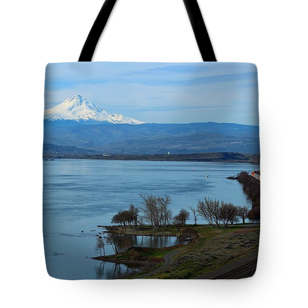 Mount Hood With Train Tote Bag featuring the photograph Mount Hood With Train by Lynn Hopwood