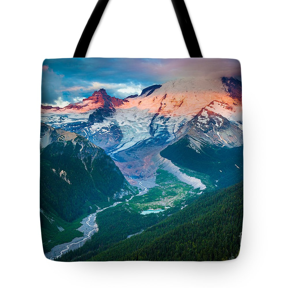 America Tote Bag featuring the photograph Mount Rainier And White River by Inge Johnsson
