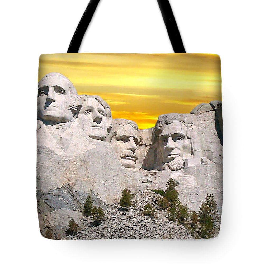 Mount Rushmore National Memorial Tote Bag featuring the photograph Mount Rushmore 11 Digital Art by Thomas Woolworth