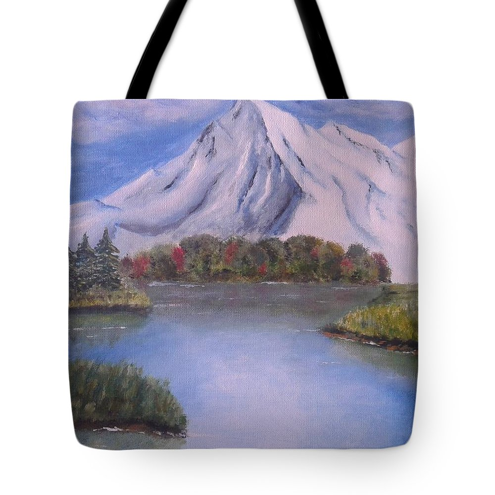 Mountain Lake Snow Tree Tote Bag featuring the painting Mountain And Lake by Luca Pisanu