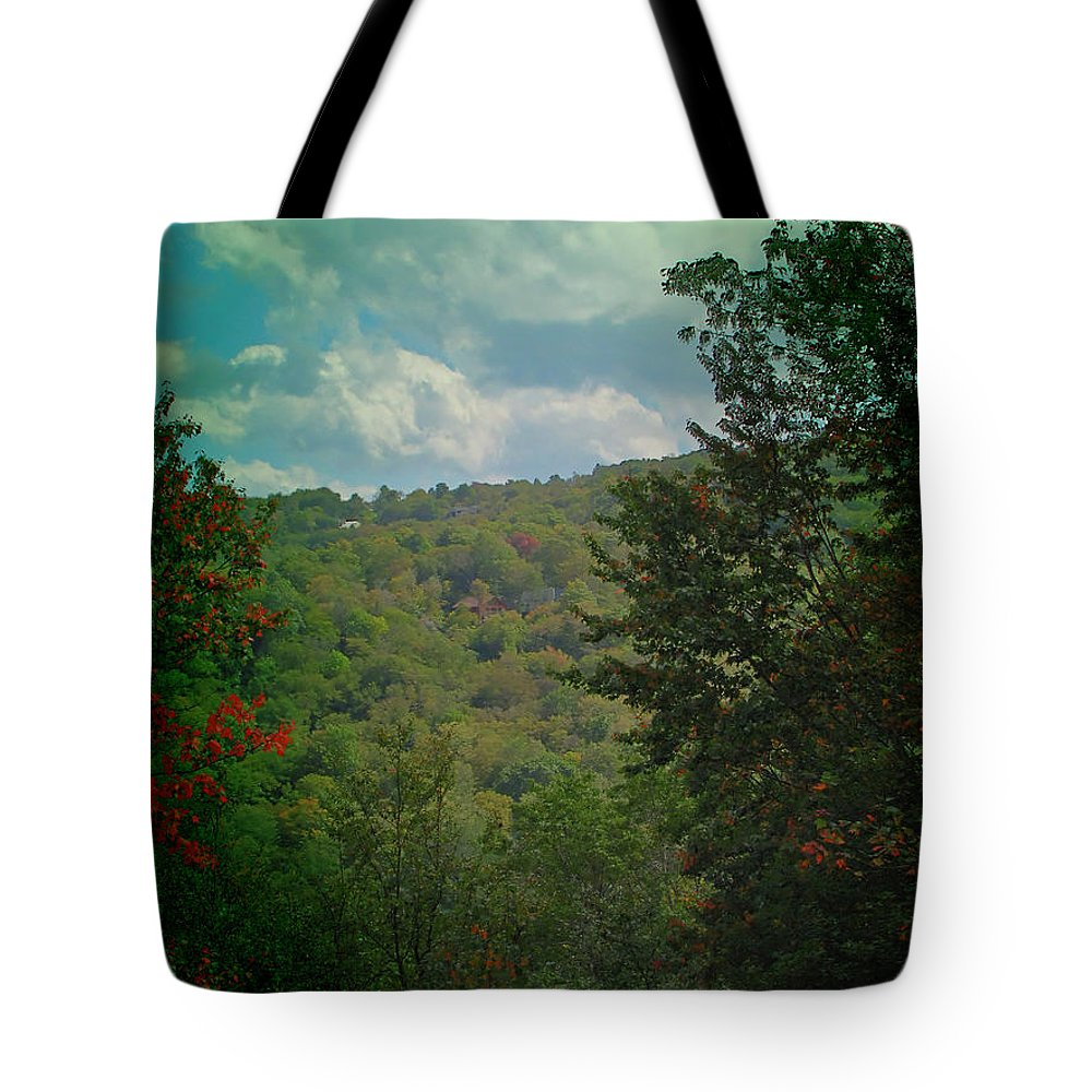 Season Tote Bag featuring the photograph Mountain Clouds by Gary Adkins