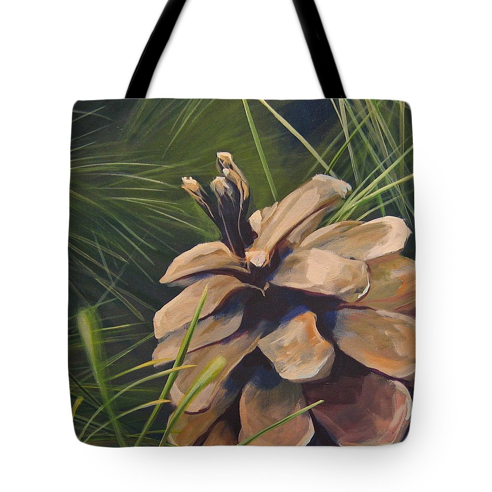 Pinecone Closeup Tote Bag featuring the painting Mountain Echoes by Hunter Jay