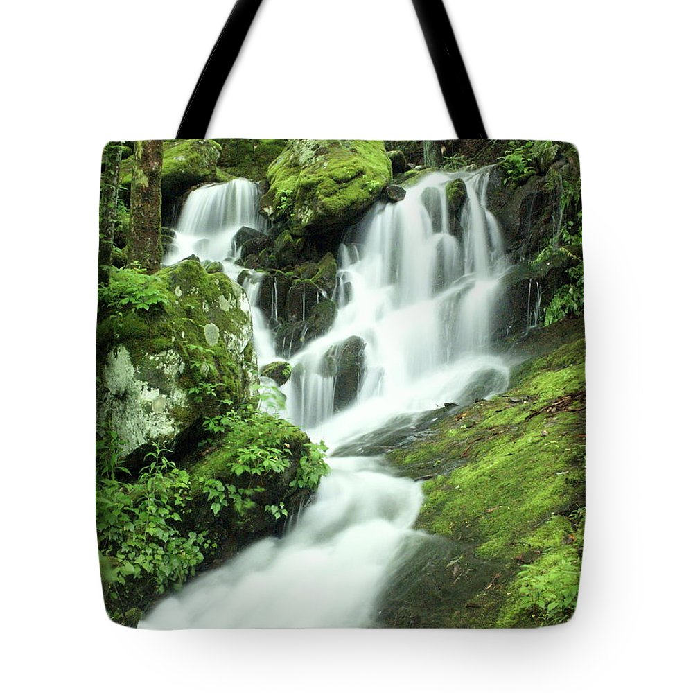 Waterfalls Tote Bag featuring the photograph Mountain Falls by Marty Koch