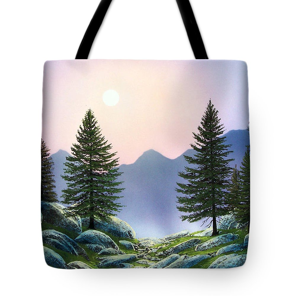 Landscape Tote Bag featuring the painting Mountain Firs by Frank Wilson