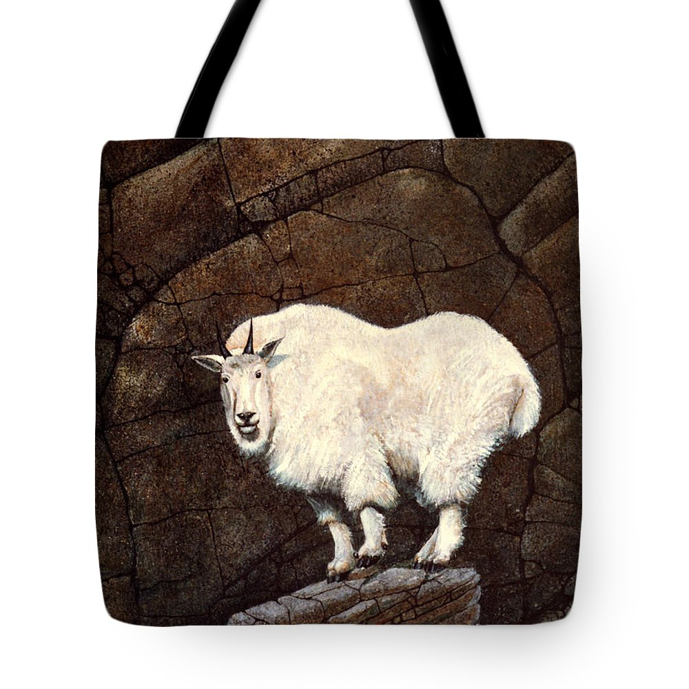 Wildlife Tote Bag featuring the painting Mountain Goat by Frank Wilson