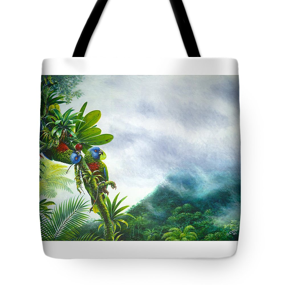Chris Cox Tote Bag featuring the painting Mountain High - St. Lucia Parrots by Christopher Cox