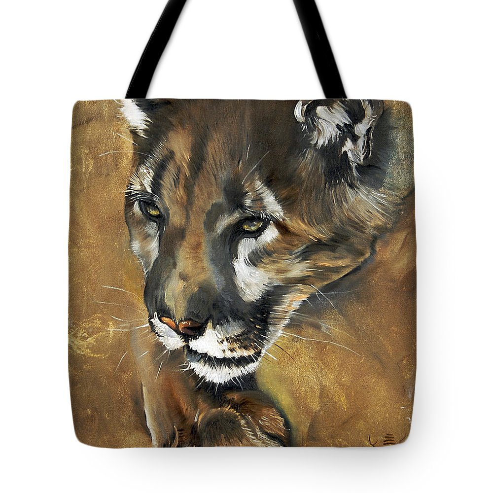 Southwest Art Tote Bag featuring the painting Mountain Lion - Guardian Of The North by J W Baker