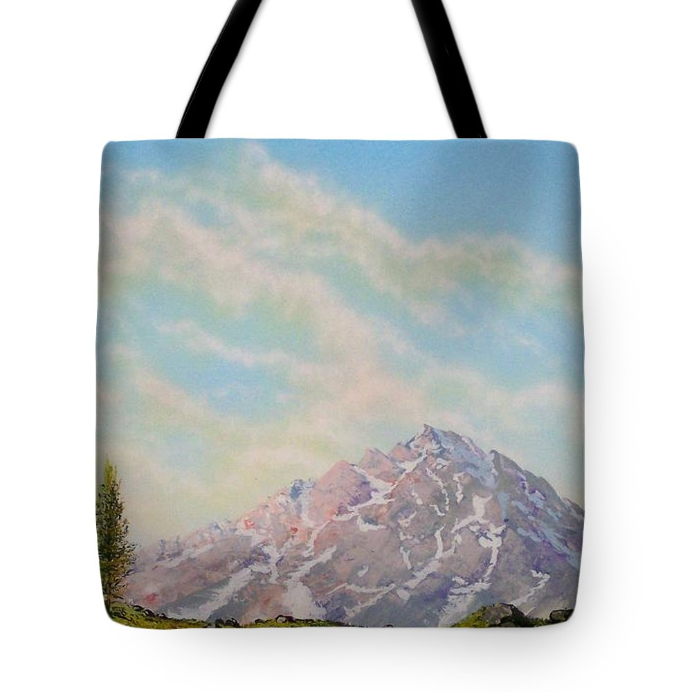 Wildflowers Tote Bag featuring the painting Mountain Majesty by Frank Wilson