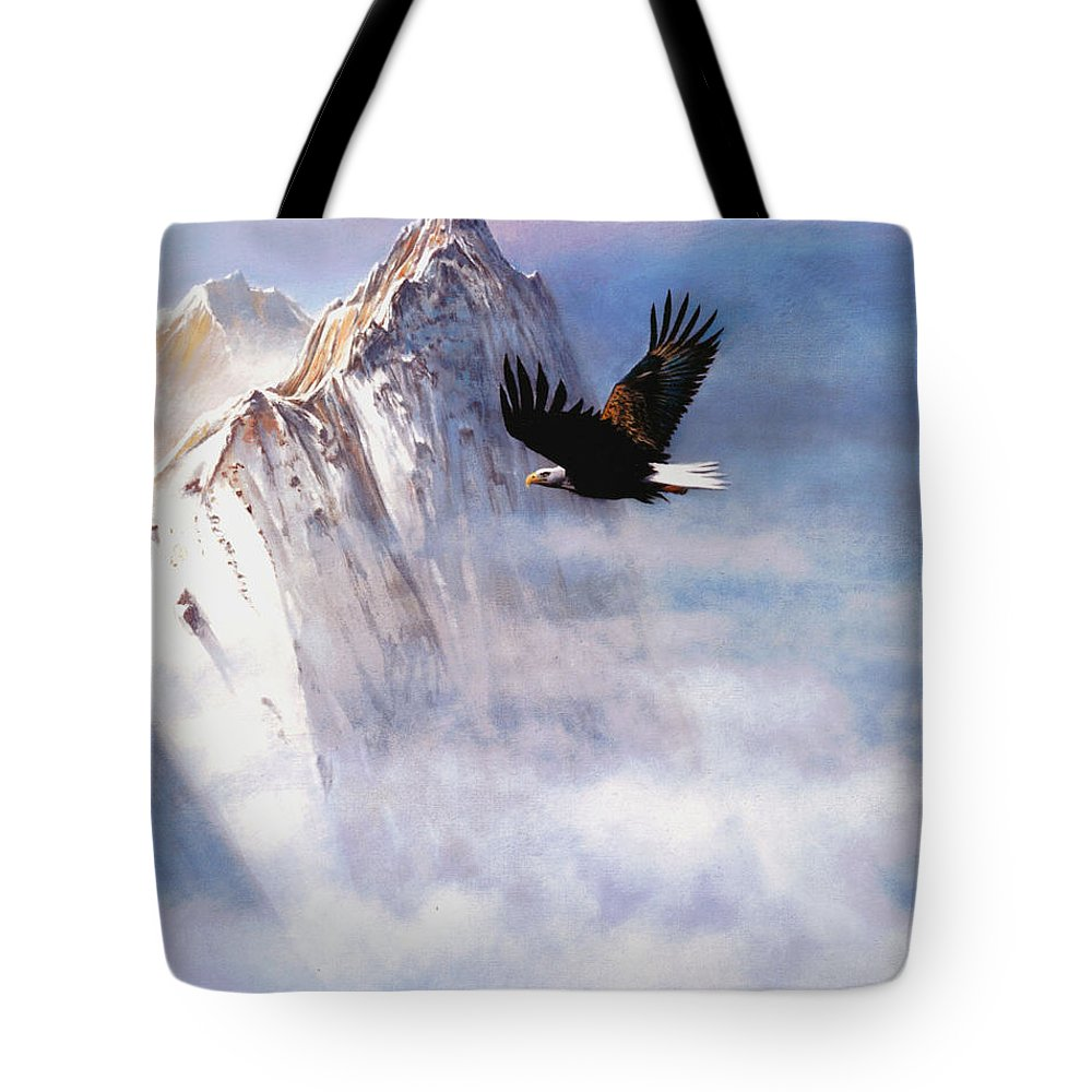 Eagle Tote Bag featuring the painting Mountain Majesty by Robert Foster