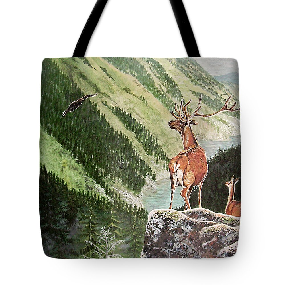 Deer Tote Bag featuring the painting Mountain Morning by Arie Van der Wijst