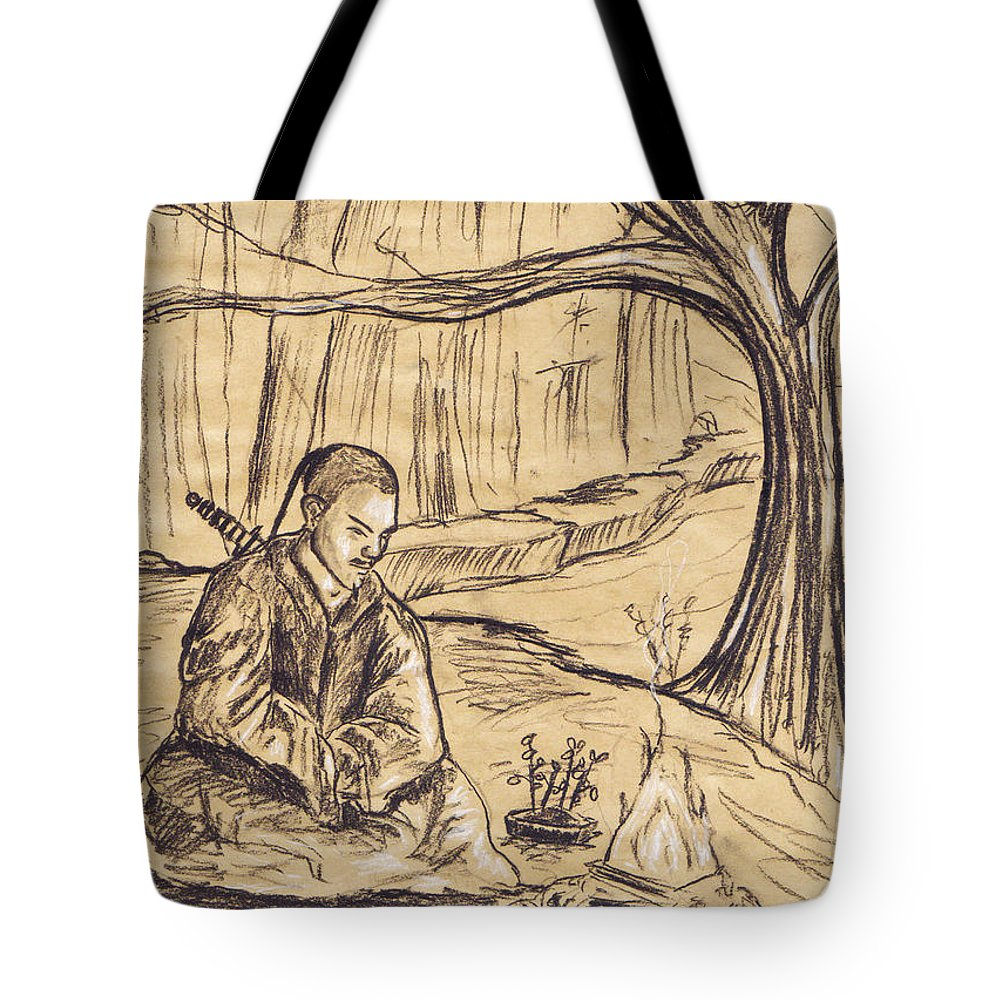 Charcoal Tote Bag featuring the drawing Mountain Oasis by Shawna Rowe