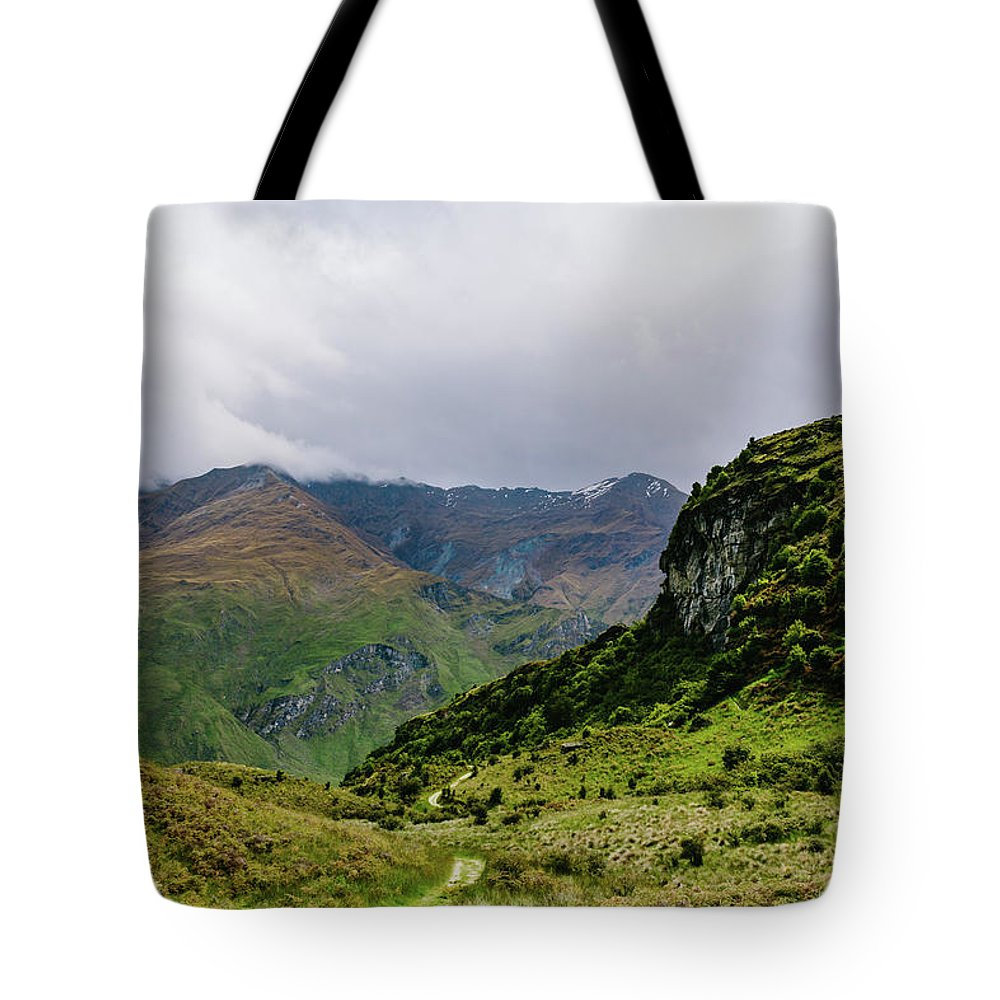 Path Tote Bag featuring the photograph Mountain Path Horiz by Chris Greig