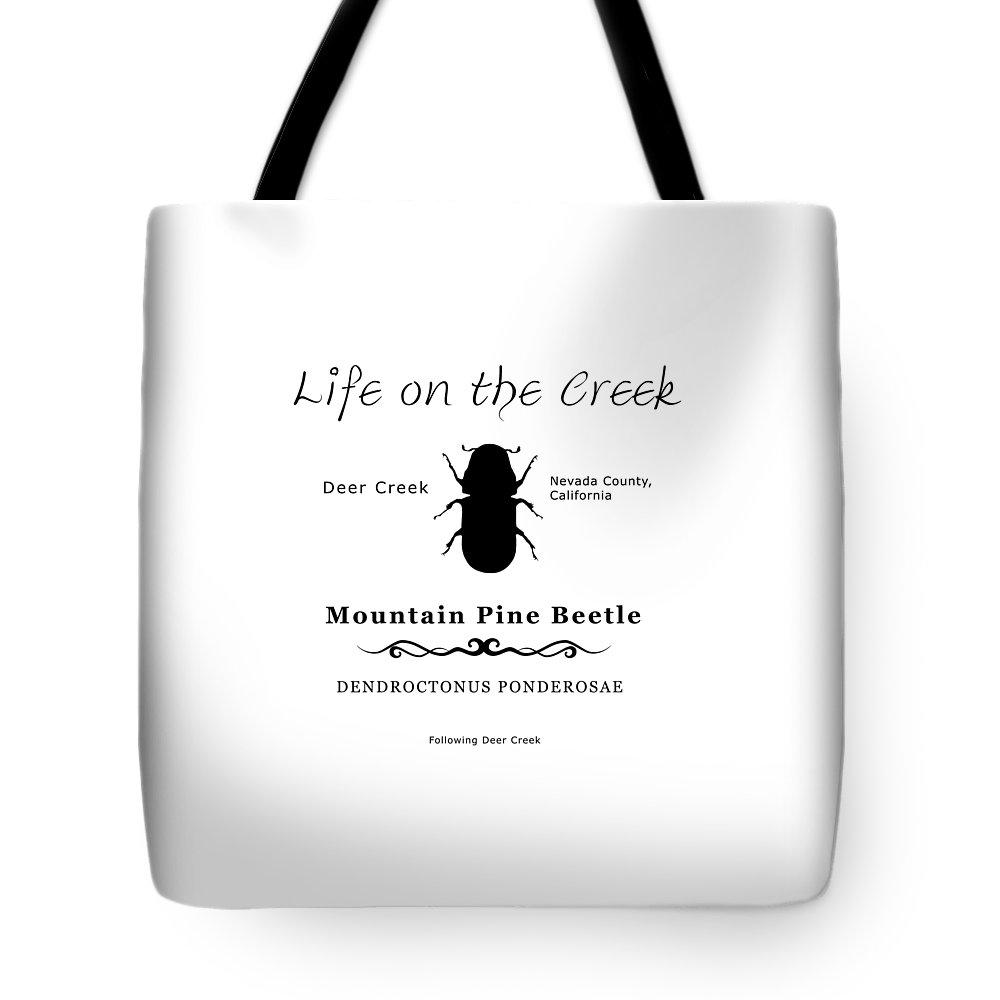 Bark Beetle Tote Bag featuring the digital art Mountain Pine Beetle Black On White by Lisa Redfern