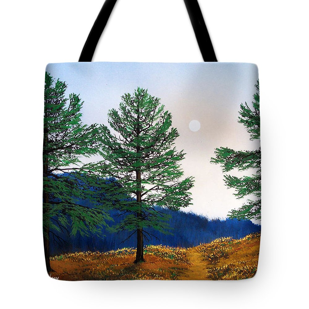 Tote Bag featuring the painting Mountain Pines by Frank Wilson