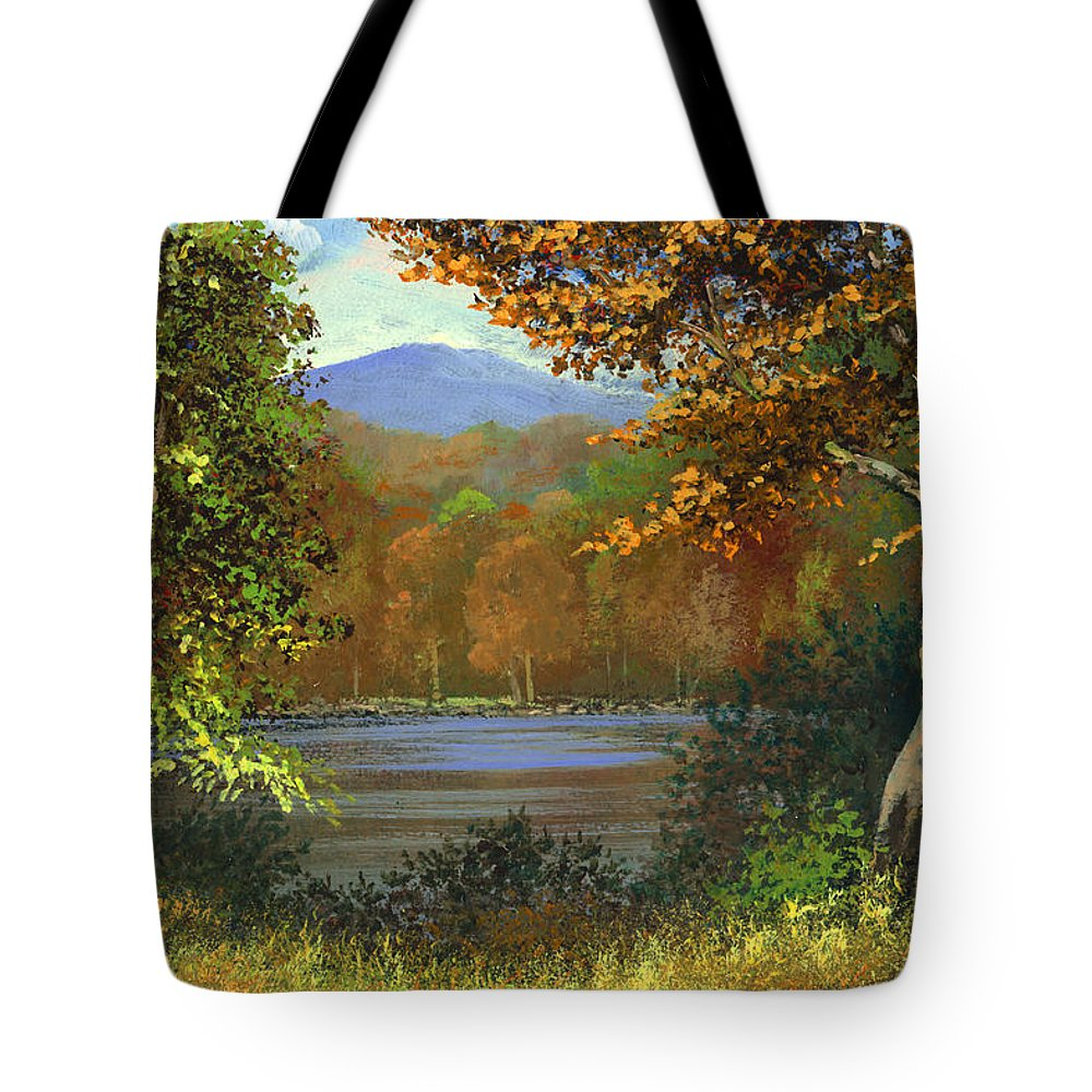 Landscape Tote Bag featuring the painting Mountain Pond by Frank Wilson