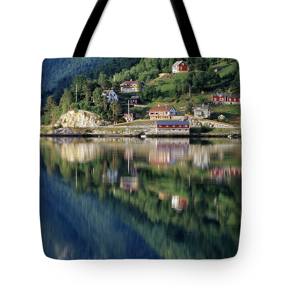 Photographic Tote Bag featuring the photograph Mountain Reflected In Lake by Chris Coe